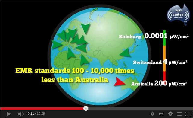Australian emr standards10 to 10000 times greater than other countries
